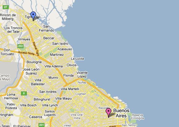 Mapa: Buenos Aires - Tigre