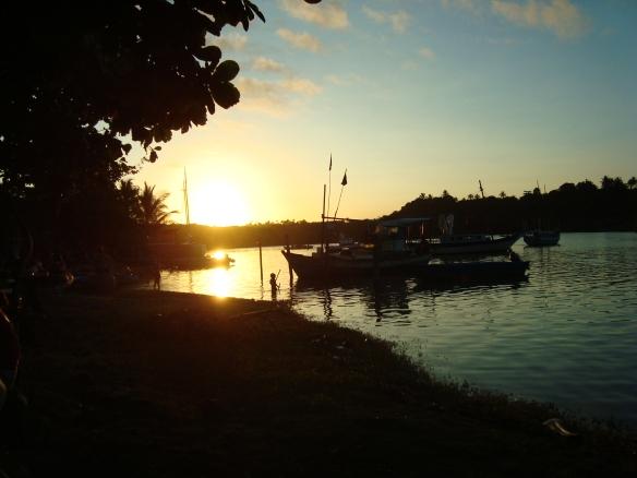 Pôr do sol no Rio Caraíva